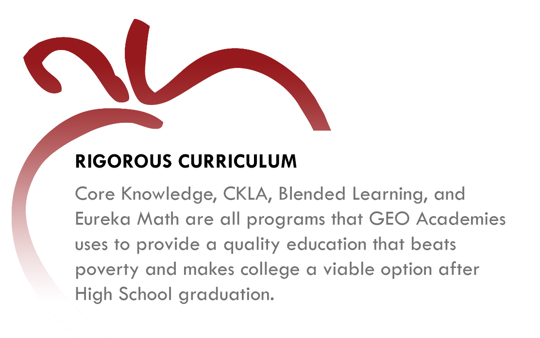 Rigorous Curriculum - Core Knowledge, CKLA, Blended Learning, and Eureka Math are all programs that GEO Academies use to provide a quality education that beats poverty and makes college a viable opton after High School graduation.
